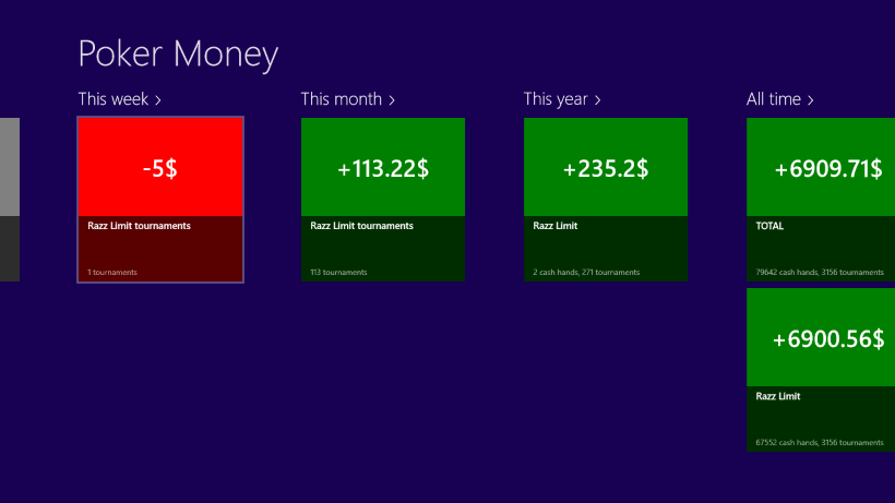 Poker Money app on Windows 8