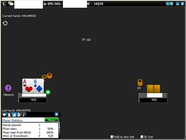 Poker table screenshot